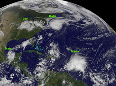 A Wild Weekend in the Tropical Atlantic (NASA Goddard Photo and Video) Tags: storm weather katia maria atlantic nasa lee nate cyclone tropicalstorm