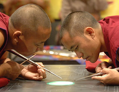Buddhist Monks Creating Sand Mandala