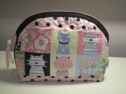 Necessaire Pink Cats by tania patchwork