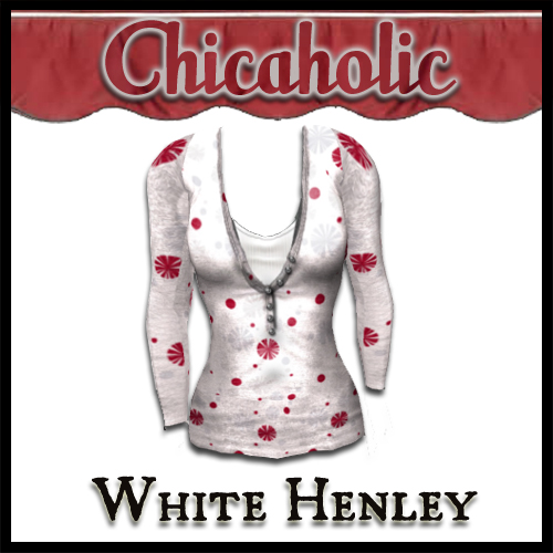 Chicaholic White Henley Long Sleeve T Shirt by Shabby Chics