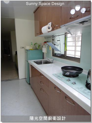 廚具工廠-中和中和路許先生一字型廚具:韓國人造石+木心板桶身+水晶門板-陽光空間廚衛設計