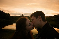 Sunset love (davidnogol) Tags: sunset red portrait orange sun lake selfportrait love pool kiss kissing flickr