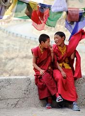 Child monks in Ladakh (Tibo L.) Tags: portrait india canon children kid monk himalayas ladakh prayerflag lamayuru bhuddism 550d