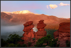The Fog Rolls In (RondaKimbrow) Tags: mountains fog colorado gardenofthegods coloradosprings geology frontrange freshsnow siamesetwins rockformation coloradolandscape pikepeak