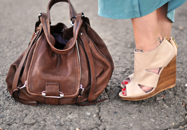 maxi dress for fall, nude leather cut out  wedges   with Kooba bag