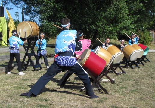Taiko Drumming by Admiral Seymour Elementary School, The Richmond Maritime Festival 2011 at the Britannia Heritage Shipyard in Steveston, BC