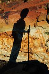 Noah's shadow on glacier-carved rock