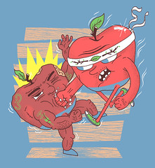 Eat This! (chastinet) Tags: apple illustration fight organic threadless atrium gmo tee estampa chastinet gentechnikfrei sansogmnoquierotransgenicosgmofreeorganic
