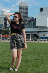 Outfit - Vintage floral mini skirt, B-52s t-shirt, converse, Marc Jacob's sunglasses