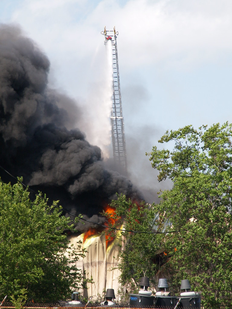 Pasadena Texas Fire Department Firefighters battle 2 alarm blaze at a plastics warehouse  June 26 2011 black smoke fighting