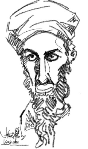 test drive HTC Flyer with Osama caricatures - 2