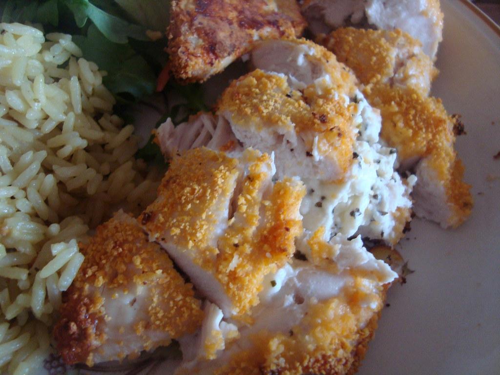 feta and basil stuffed chicken in breadcrumbs!