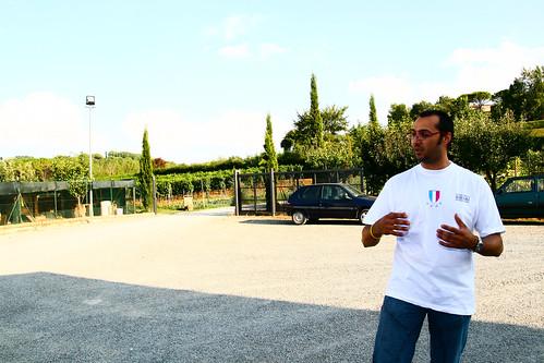 Luca giving a tour of Azienda Agricola Il Ciliegio in Tuscany
