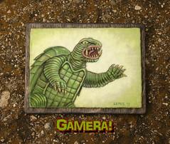 Gamera! - Glows-in-the-Dark! (spacetrog) Tags: monster japan painting ebay tradingcard godzilla kaiju gamera glowsinthedark mikelemos