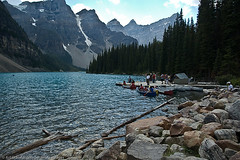 Boaters on Moraine Lake, Banff National Park, Alberta (Art Glassford) Tags: lake mountains alberta banffnationalpark morainelake boaters