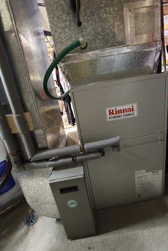 Furnace exchanges heat from hot water to heat the home