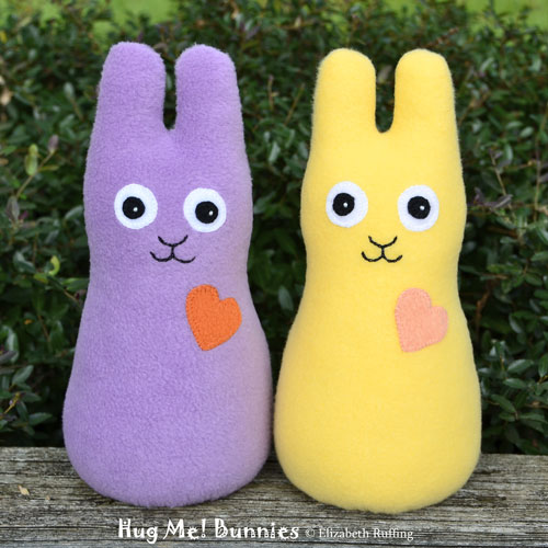Lavender and soft yellow fleece Hug Me Bunny Rabbits by Elizabeth Ruffing