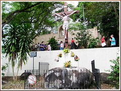1846 relic (boulder) of the 1st Chapel of St Anne's's foundation at the15th Station of the Cross at the hilltop behind St Anne's Shrine, Bukit Mertajam
