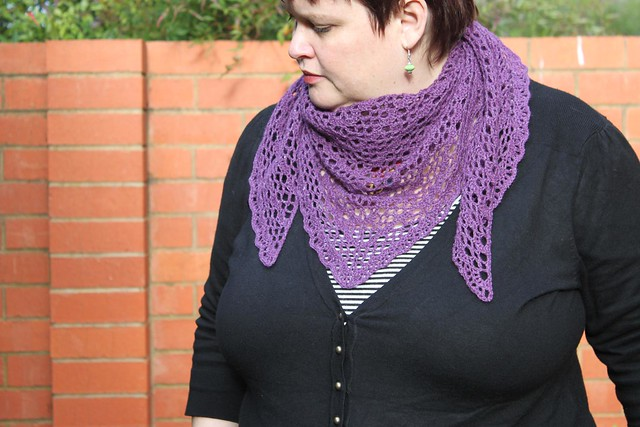 Lacy aubergine shawl