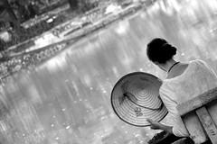 Ho Hoan Kiem (Blue Spirit - heart took control) Tags: park morning blackandwhite bw parco lake water girl reflections lago bn acqua riflessi biancoenero cappello ragazza mattino hohoankiem