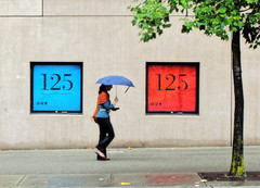 Red & Blue (. Jianwei .) Tags: street blue red tree wet girl rain vancouver umbrella mood geometry candid streetlife 365 125 vancouverlibrary a500 jianwei  kemily mygearandme mygearandmepremium mygearandmebronze