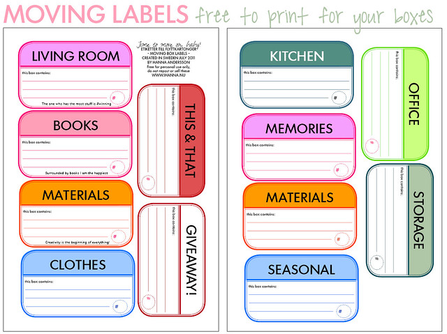 Free Moving Box Labels to print