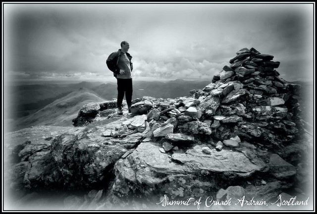 Mike on Cruach Ardrain - silver tint B&W