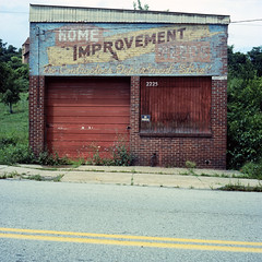 Home Improvement Needs (michaelgoodin) Tags: abandoned 120 6x6 tlr film home mediumformat pittsburgh kodak pennsylvania centre august chemistry 100 needs avenue improvement yashicamat ektar hilldistrict c41 2011 unicolor 2225 newtopographics