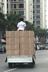 Box Boy Delivery (cowyeow) Tags: china street strange danger asian weird dangerous funny asia driving traffic chinese bad wrong guangdong transportation transit delivery boxes overloaded loaded shantou careless irresponsible chenghai funnychina