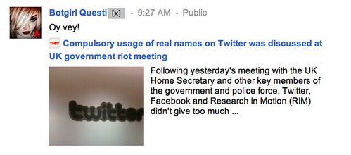Compulsory usage of real names on Twitter was discussed at UK government riot meeting