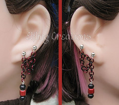 Pair of double lobe post connecting chain earrings