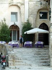 Italian Restaurant (Giorgio Tomassetti) Tags: italien italy table restaurant italian chair italia chairs violet waitress matera viola sedie ristorante sedia tavoli cameriera