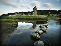 STEPPING STONES & THE HISTORIC OGMORE CASTLE, BRIDGEND, SOUTH WALES......EXPLORE! (IMAGES OF WALES.... (TIMWOOD)) Tags: wood longexposure castle history wales reflections river tim ruins gallery sony south cymru www battle explore nd com steppingstones welsh dwr alpha derelict ogmore valeofglamorgan bridgend owainglyndwr thenormans a700 ogmorecastle