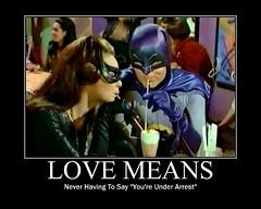 "BATMAN : ""Love Means..."" (DarkJediKnight) Tags: humor 1966 batman parody lovestory catwoman julienewmar adamwest motivationalposter lovemeansneverhavingtosayyouresorry"