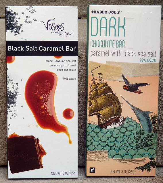Two Dark Chocolate, Caramel, Black Salt bars