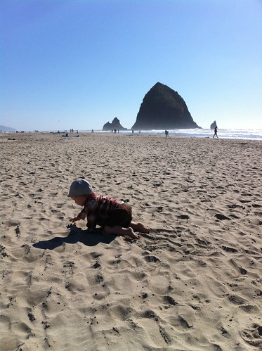 Boy with Haystack Rock