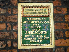 Photo of Arthur Hugh Clough and Anne J. Clough green plaque