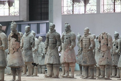 To restore pottery army of warriors at Museum of Qin Terra-cotta Warriors and Horses, Xi'an, China