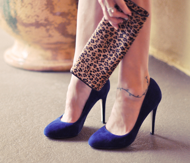 aldo blue suede shoes   and calf hair leopard print clutch