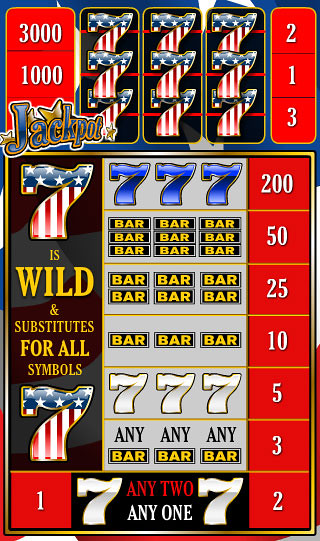free Red White Blue 3 Lines slot game symbols