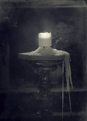 (soleá) Tags: light blackandwhite art canon vintage dark photography candle zwartwit spooky mysterious wax tinted soleá carmengonzalez