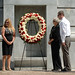 Family members of Lt. Cmdr. Eric Allen Cranford, an NC State alumnus who died in the attack on the Pentagon, place a wreath at the Belltower.