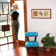 Turquoise Hostess chair (Welcome Home Furnishings) Tags: modern miniature furniture barbie retro diorama midcenturymodern fashionroyalty 16scale cissette hostesschairs chairsfordolls