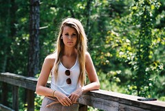 morgan (danielle//wren) Tags: camera bridge blur film feet floral girl smile car fashion skinny outfit bed model woods minolta bright longhair ears skirt sheets outoffocus walmart tiny blanket trendy blonde 70s wendys morgan stretched headband gauges srt bruenette tumblr hispter