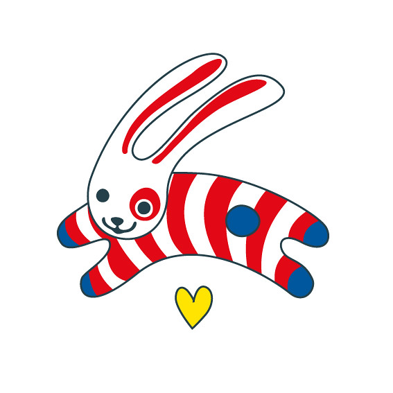 jumping bunny illustration for baby swimsuits