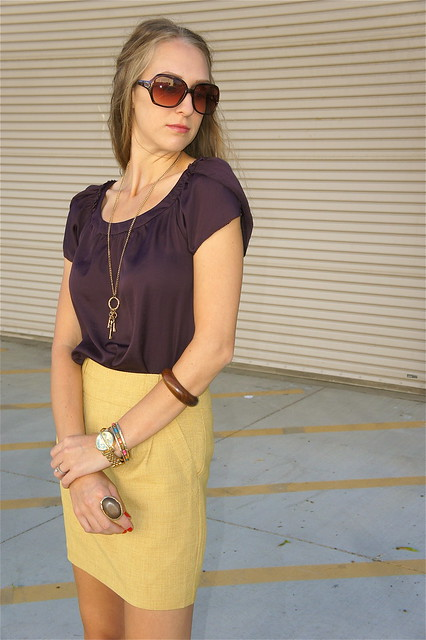 Plum and mustard outfit