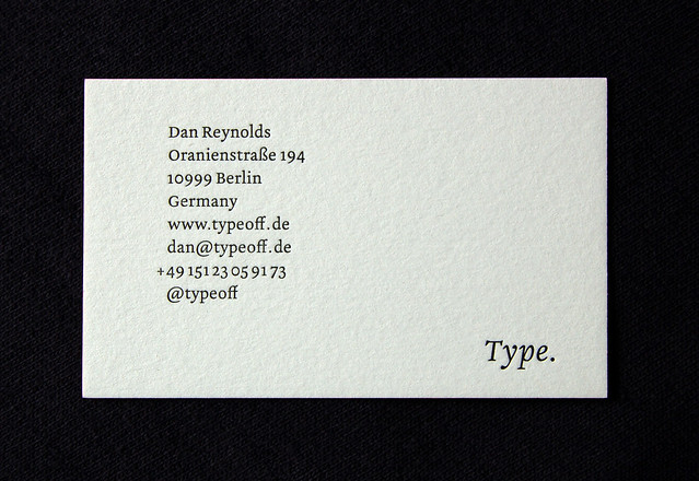 Business card front-on