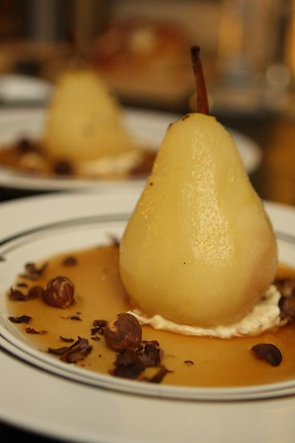 Tripel Poached Pears Stuffed with Mascarpone and Toasted Hazelnuts