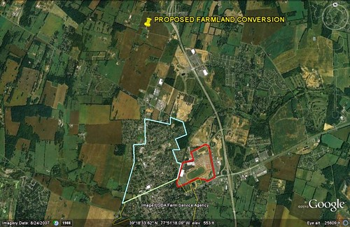 under planning, the Clayhill farmland would be converted to development (image via Google Earth)