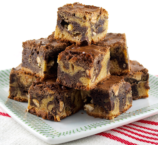 Triple Chip Chocolate Swirled Blondies